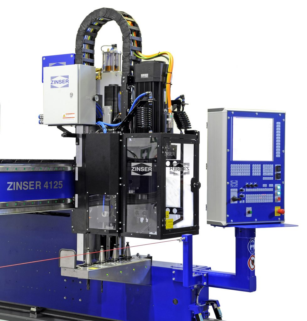 CNC drilling unit with tool changer for drilling, threading and countersinking operations on a ZINSER 4125 cutting machine.