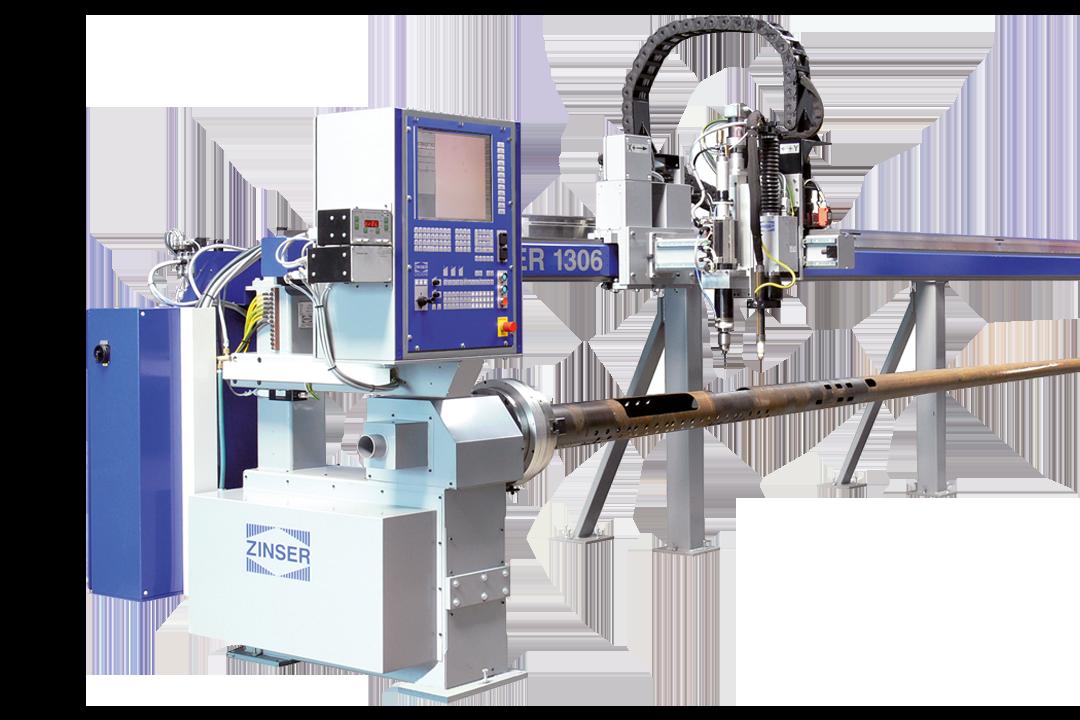 Découpe des tubes d'acier avec la machine CNC ZINSER 1306