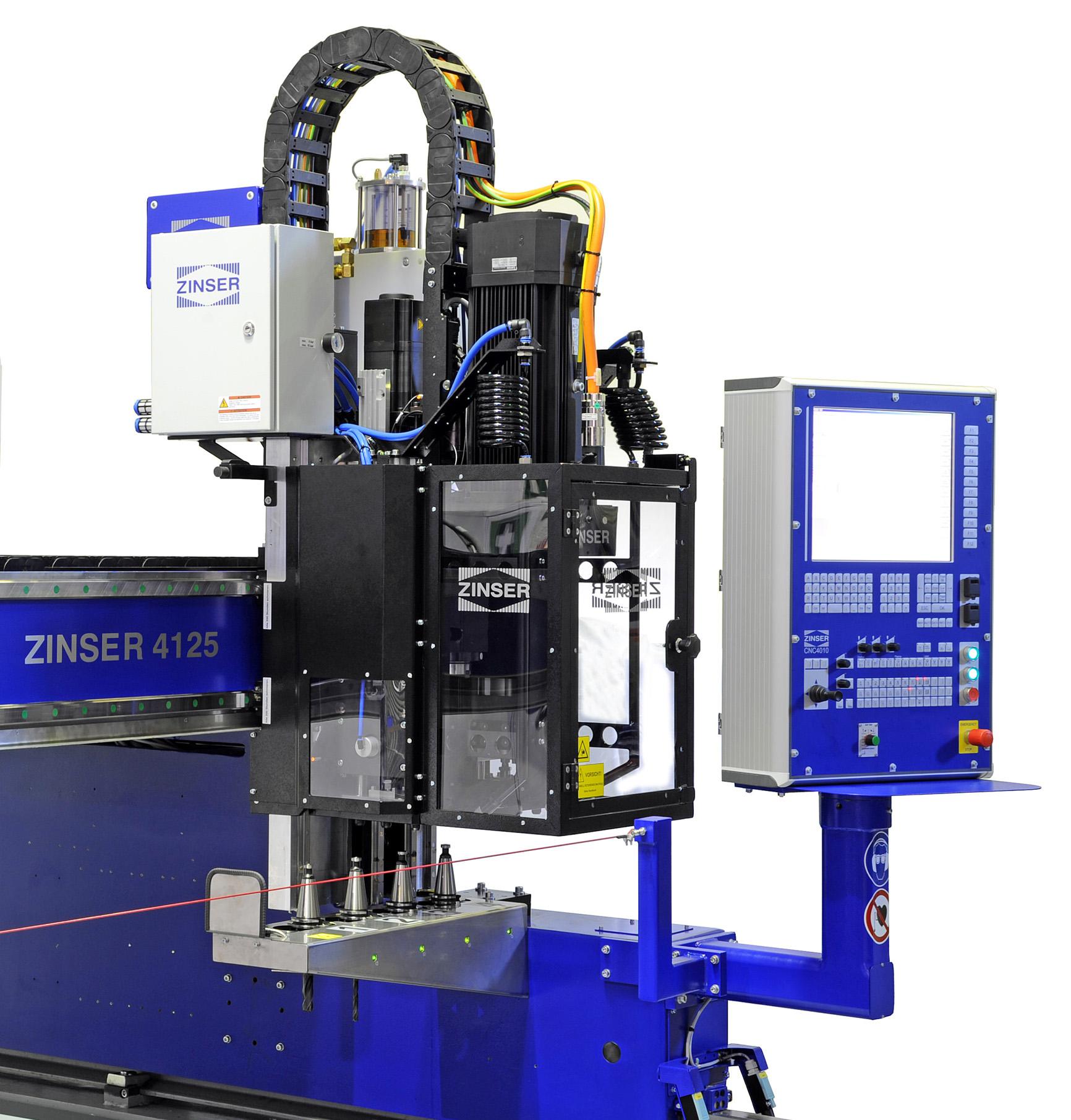 CNC Bohraggregat mit Werkzeugwechsler zum Bohren, Senken oder Gewindeschneiden auf einer ZINSER 4125 Brennschneidmaschine.