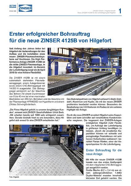 Success Story: Erster erfolgreicher Bohrauftrag für die neue ZINSER 4125B von Hilgefort, deutsch