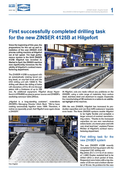 Success Story: First successfully completed drilling task for the new ZINSER 4125B at Hilgefort, English