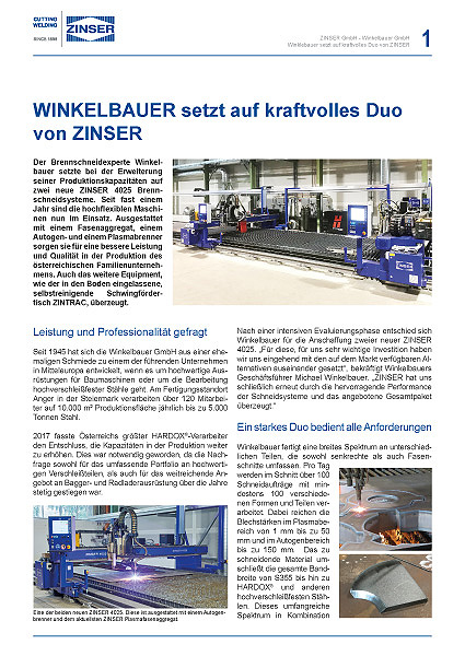 Download Success Story: WINKELBAUER setzt auf kraftvolles Duo von ZINSER, deutsch