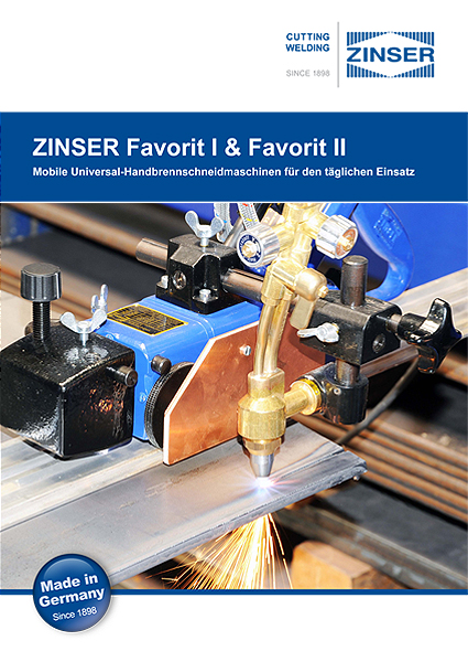 ZINSER Favorit portable oxy-fuel cutting machine - brochure