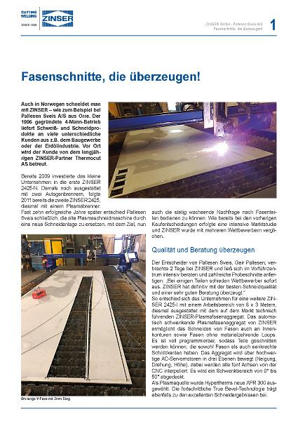 Download Success Story: Norwegisches Unternehmen investiert in neue Plasmaschneid für Fasenschnitte