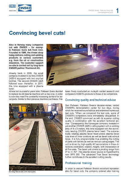 Download Success Story: Norwegian company invests in new plasma cutting machine for bevel cuts